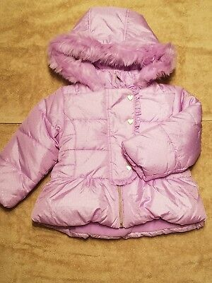 Toddler Girl 3T winter girls coat Pistachio purple with sparkles & heart buttons
