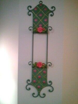Shabby Chic Roses Vertical 2 Plate Wall Rack Holder Display Romantic