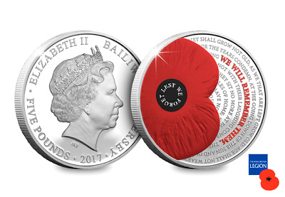 2017 Jersey Remembrance  £5 poppy Coin