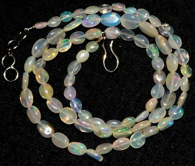 "O-2423 Fire Ethiopian Multi Opal Oval Plain Beads 4x4-6x8mm 33Cts 18"" Necklace"