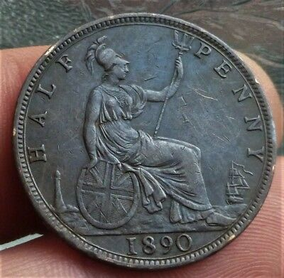 1890 VICTORIA half-PENNY COIN, NICE DETAILED COIN