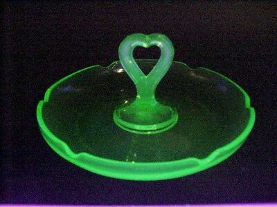 Green Depression Vaseline Glass, Scalloped Rim Candy Server with Heart Handle