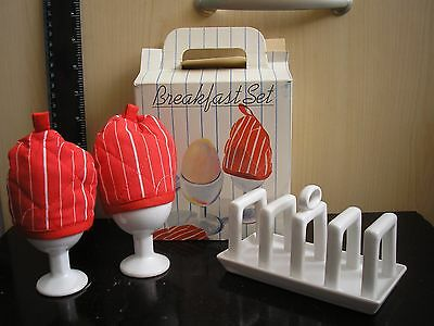 Vintage Carlton Ware Breakfast Set: Toast Rack, 2 Egg Cups with Cosies.