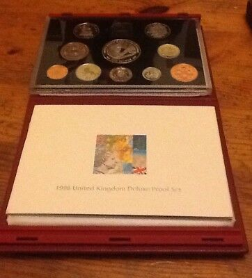 1998 UK Proof Coin Collection ~ with Scarce £1 ~ Royal Mint Set Deluxe Red Case