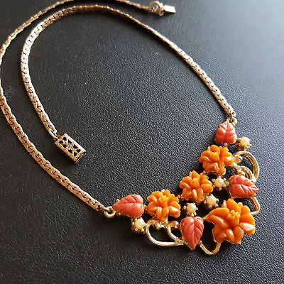 "Vintage 15"" Necklace Carved Flower Pearl Orange Coral Lucite Choker Autumn X220"