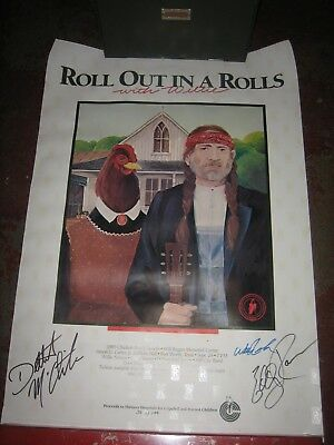 Signed Willie Nelson Poster (Roll Out in a Rolls) also by Delbert McClinton and