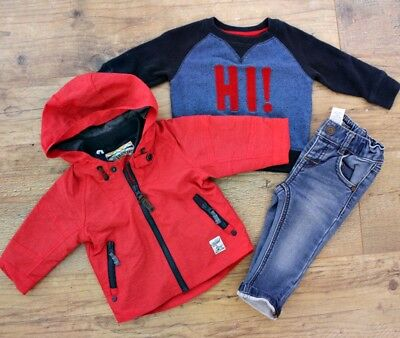 100% Next Baby Boys Small Bundle Outfit Red Jacket Coat Blue Jeans Jumper 3-6 M