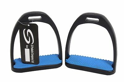 """Plastic Light Weight Horse Riding Stirrups With Blue Treads For Child 4.5"""""""