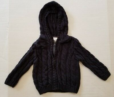 Gymboree Navy Blue Cable Knit Cardigan Hooded Sweater Boys 18-24 Months