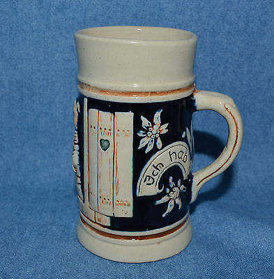 Vintage Small Stein Marked Ich Hab Dich Lieb (I Love You) Couple Kissing Germany