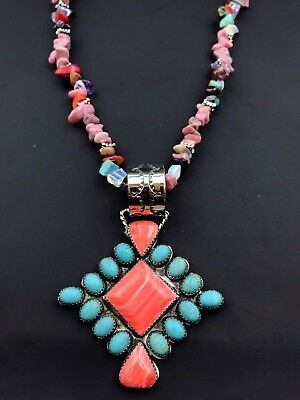Silver and Rhodonite Necklace with Navajo Signed Pendant Hademade Chunky *788