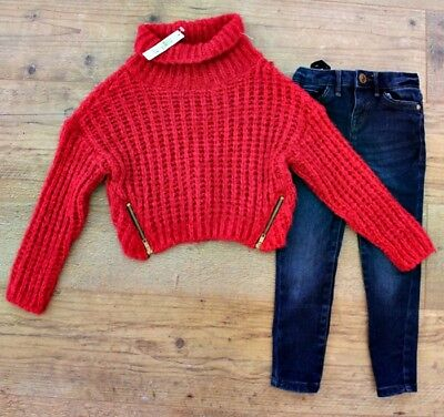 100% River Island Girls Small Bundle Outfit Oversized Jumper Jeans Age 3-4 Y