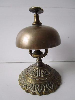 Vintage Ornate Brass Desk Bell. 4.5 Inches High. Nice Ring!