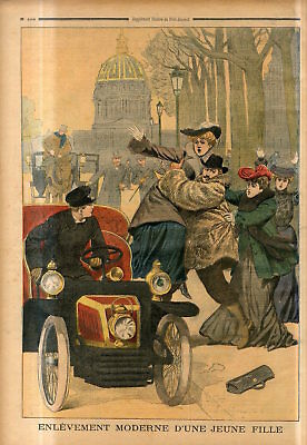 1902 Modern abduction of a young woman in the car in Paris,France Antique Print