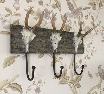 Set Of 3 Animal Skull Wall Hooks Accessory Gift Home Industrial Chic Decor