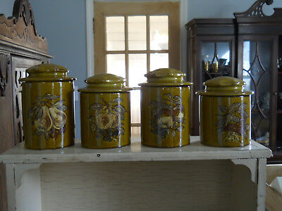 4 Holiday Designs USA Ceramic Canisters-Harvest Gold - Different Fruit