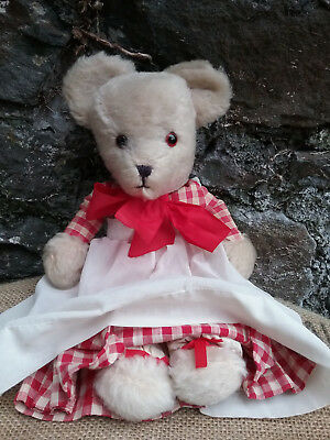 Vintage old British white mohair teddy bear in dress, 1950s, 13 1/2""