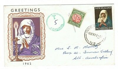 New Zealand 1962 Christmas Cover with Australia 1d Postage Due Stamp