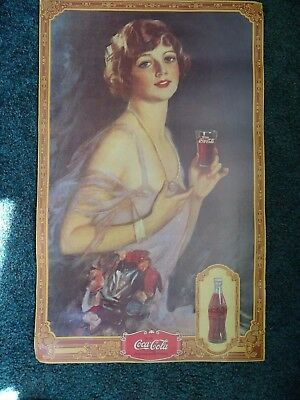 "Coca Cola Cardboard Vintage Advertising Sign 16 3/4""  x 26 3/4"""