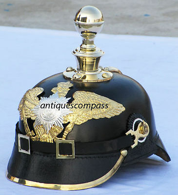 Leather German Helmet Wwi Spiked Pickelhaube Prussian Officer's Costume Nbh70