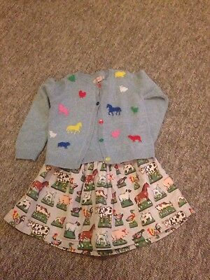 Cath Kidston Kids Outfit / Bundle Girls Farm Cardigan And Skirt 3-4