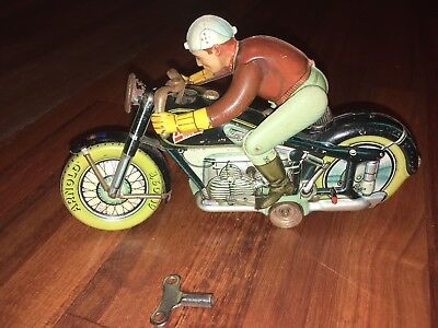 Vintage Arnold U.s. Zone Germany Tin Litho Mac 700 Toy Wind Up Motorcycle Rare