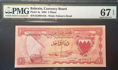 BAHRAIN 1 DINAR 1964 Pick#4a, PMG UNC 67 EPQ (Overgraded In My Opinion)