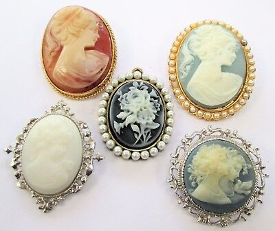 Collection 4 vintage cameo brooches + pendant