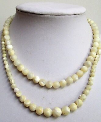 Two good vintage Deco mother-of-pearl bead necklaces