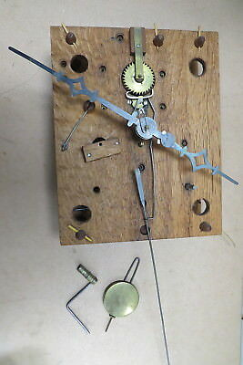 Antique Clock Movement With Wood Gears Weight Driven