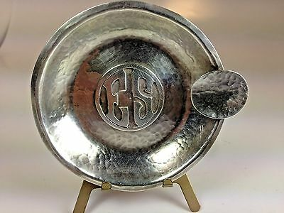 Antique Arts & Craft Sterling Silver Art Silver Shop Hand Hammered Ashtray 1918