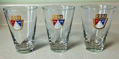 3 1950's FORD AUTOMOBILE EMBLEM ADVERTISING DRINKING GLASSES / TUMBLERS