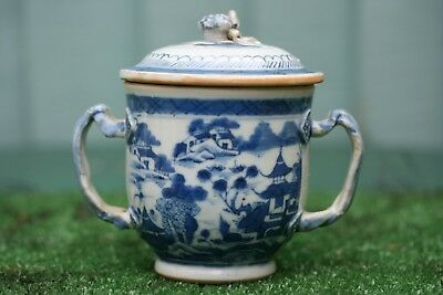 STUNNING 18thC CHINESE BLUE & WHITE LIDDED RICE POT WITH INTRICATE HANDLES c1780