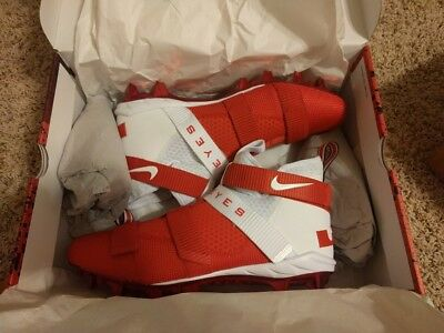 Nike Lebron Soldier 11 TD Cleats Ohio State St PE RARE Red/White Football Sz 14
