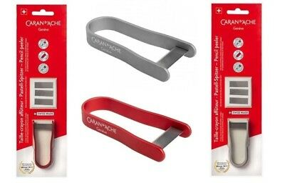 Caran D'ache Artists Pencil Peeler ( Pastel Sharpener) & 3 Refills Red / Silver