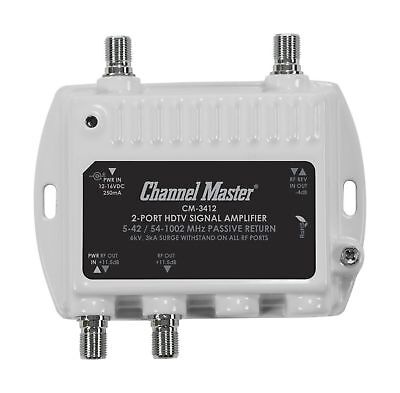 Channel Master CM 3412 TV Antenna Distribution Amplifier Booster CM3412 2-Port