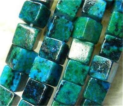 New 6mm Azurite Chrysocolla Gems Square Loose Bead 15''##AG013