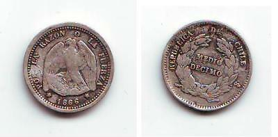Chile Medio Decimo (5 Centavos) 1866 in F-VF