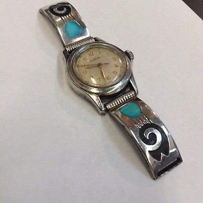 Vintage Sterling Silver  Inlay Turquoise Watch Band