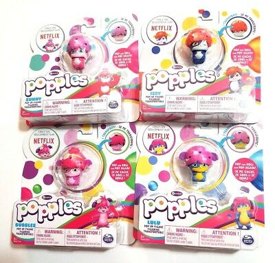 Popples Pop Up Figures Spin Master 2015 NETFLIX Lulu, Sunny, Izzy, Bubbles