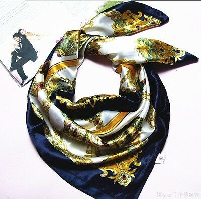 Classic Ladies Vintage Regal insignia Pattern Designer Silk Long Square Scarf