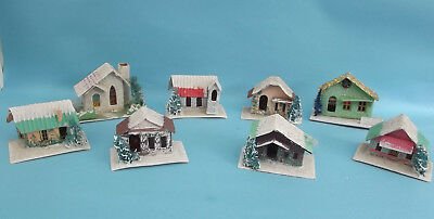 Vintage Cardboard Mica Putz CHRISTMAS HOUSE Lot of 8 Made in Japan Glitter Decor