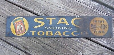 RARE 1910 - 1920 Vintage Chew Stag US Tobacco General Store Display Tin Sign