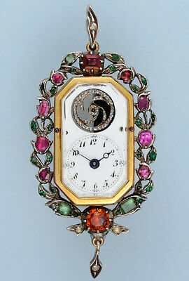 Rare And Unusual Gem Set Pendant Watch with Visible Balance