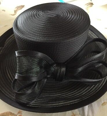 John Lewis Stunning Formal Black Hat With Bow *Wedding, Graduation, Pass Out*