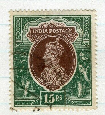 INDIA;  1937 early GVI issue fine used 15R. value