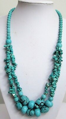Stunning long vintage 3 row turquoise bead necklace