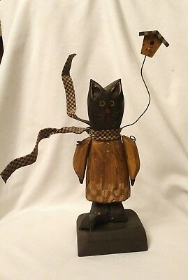 Vintage Wooden Carved  Handcrafted Folk Art Black Cat With The Crow
