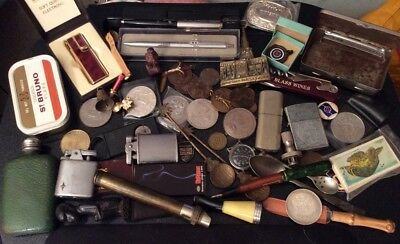 Great Vintage Mixed Lot: Coins, Lighters, 14ct Nib Pen, Medals, Hip Flask Etc