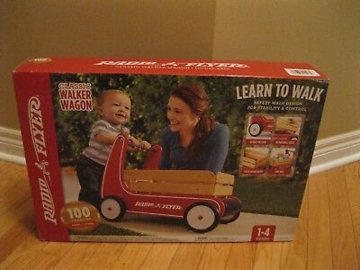 """RADIO FLYER Classic Walker Wagon Solid Wood Red Toddler Toy Safe """"NEW IN BOX"""""""